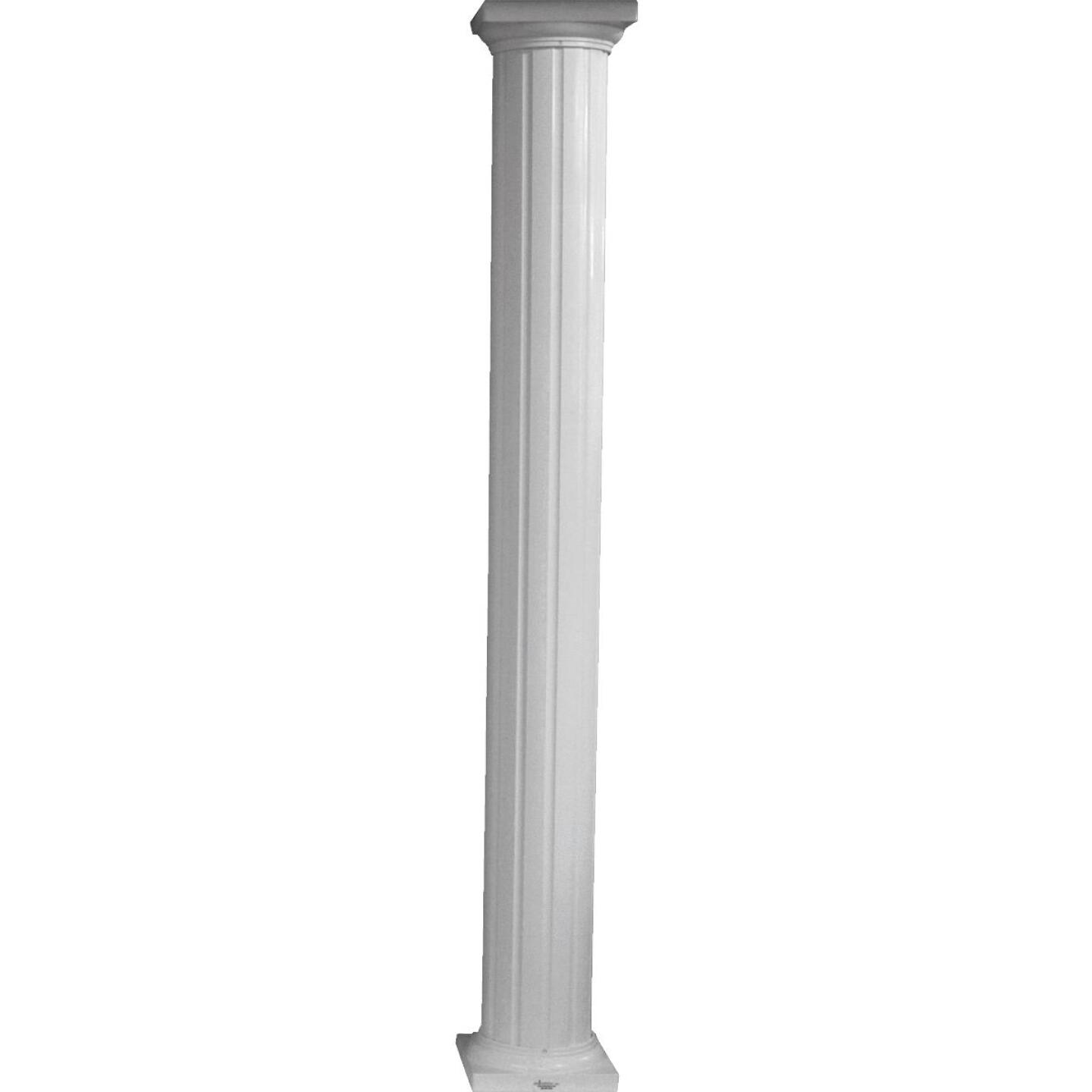 Crown Column 8 In. x 8 Ft. White Powder Coated Round Fluted Aluminum Column Image 1