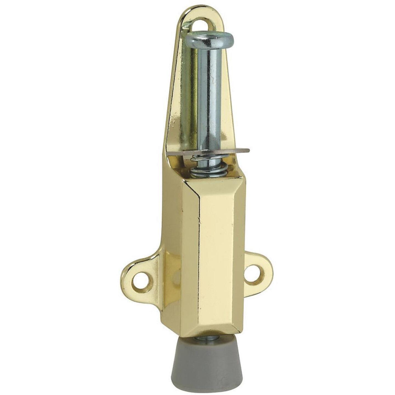 National Brass Door Stop with Lock Image 1