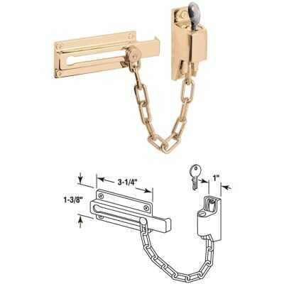 Defender Security Polished Brass Keyed Chain Door Lock