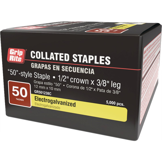 Grip-Rite 50 Hammer Tacker Staple, 3/8 In. (5000-Count)