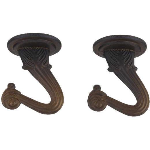Westinghouse 1-1/2 In. Oil Rubbed Bronze Steel Swag Hook (2-Pack)