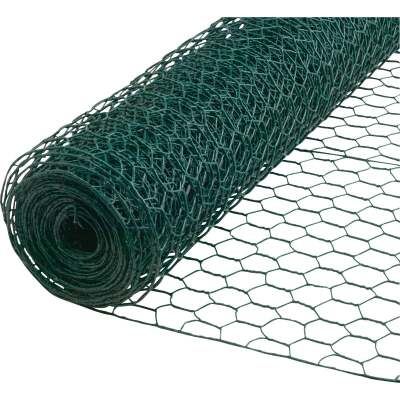 1 In. x 36 In. H. x 25 Ft. L. Green Vinyl-Coated Poultry Netting