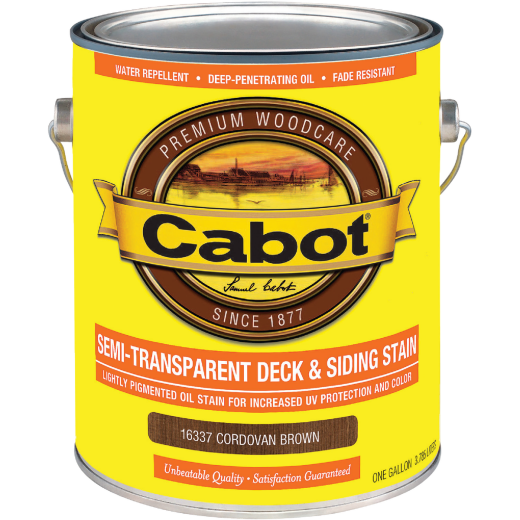Cabot VOC Semi-Transparent Deck & Siding Exterior Stain, Cordovan Brown, 1 Gal.
