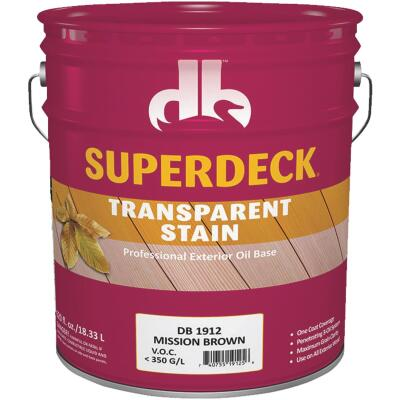 Duckback SUPERDECK Transparent Exterior Stain, Mission Brown, 5 Gal.
