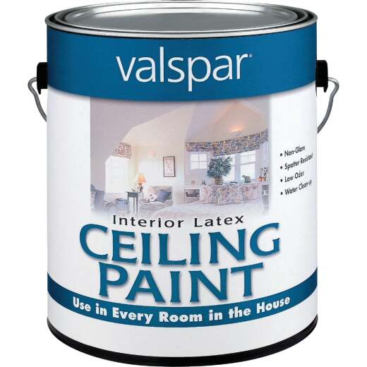 Valspar Latex Flat Ceiling Paint, White, 1 Gal.